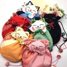 和風招財貓束口袋 招財貓錢袋 想購了超級小物