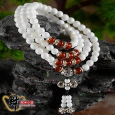 【財神小舖】108珠紅瑪瑙藏銀硨磲手鍊《含開光》財神小舖【EN1206】