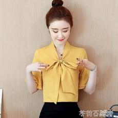 女士雪紡襯衫女裝夏裝新款短袖蝴蝶結超仙百搭上衣氣質OL襯衣