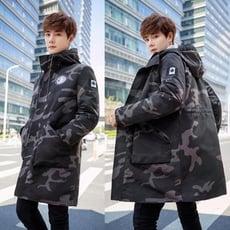 中長款迷彩大衣風衣外套男秋冬季韓版潮流加肥加大碼胖子學生棉衣
