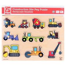 台灣現貨德國Hape愛傑卡木製玩具-工程交通木拼圖Construction Site Puzzle
