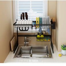 空間利用收納高手  第二代-不銹鋼廚房水槽收納架 (單槽)65CM 黑色
