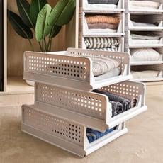 馬卡龍色系 抽取式組合組收納箱(矮款)