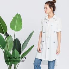【KOMI】純棉飛機繡花襯衫洋裝