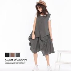 【KOMI】棉麻抓褶花苞背心口袋洋裝‧三色