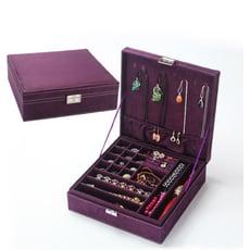 歐式絨布雙層多格首飾盒 珠寶盒 收納盒