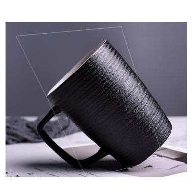 马克杯 陶瓷 带盖 勺过滤泡茶杯 粗陶杯子 办公室 水杯 大容量 咖 啡杯创意
