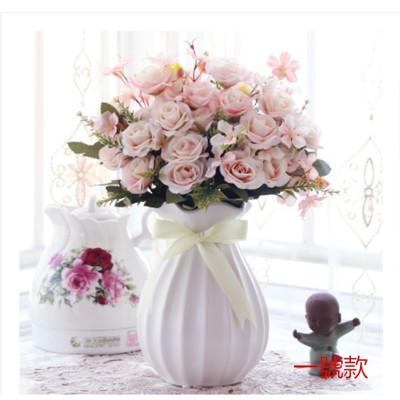 #免運#仿真花 擺件 玄關 假花盆栽 家居客廳室內 絹花裝飾 花藝套裝歐式 桌面擺設仿真花
