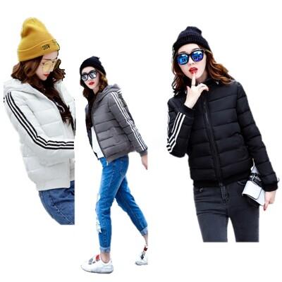 韓版 運動外套 短款外套 鋪棉外套 連帽外套 修身外套 三槓外套