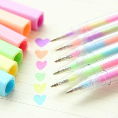 [台灣出貨] 彩虹螢光水性筆 變色筆 1支筆6種顏色 中性筆 彩色筆 原子筆 卡片 手帳 文具