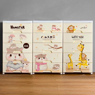 Mr.box-45面寬-可愛動物五層抽屜式收納櫃-附輪【024104】