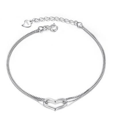【米蘭精品】925純銀手鍊 手環-精美心型風格女配件73z31