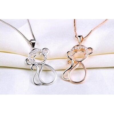 925純銀項鍊 猴子吊墜-俏皮可愛動物女配件73v153【米蘭精品】