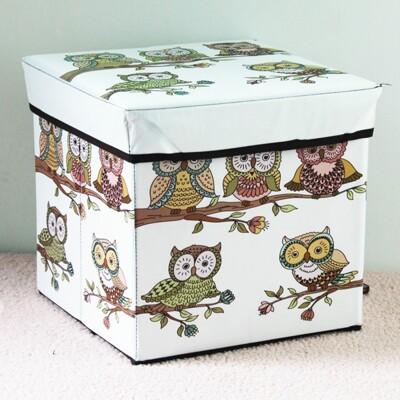居家寶盒【SV8014】歐式古典玫瑰花鐵塔 高根鞋田園日出貓頭鷹 方形有蓋整理箱 雜物箱 換鞋凳 摺