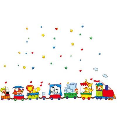 快樂火車馬戲團 AY9065 新款壁貼 兒童房 辦公室 幼兒園 室內佈置 居家裝飾 壁貼【YV423