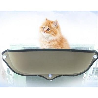 【空中貓閣】貓咪籠 貓咪吸盤窗臺窩 月亮型貓咪窗臺窩半圓貓窩 曬太陽帶貓墊 貓玩具 寵物用