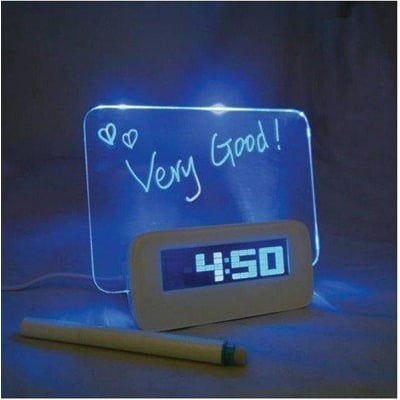 爆創意留言板時鐘 多功能螢光 留言板鬧鐘 LED鬧鐘USB HUB 畢業 交換禮物 聖誕節 情人節