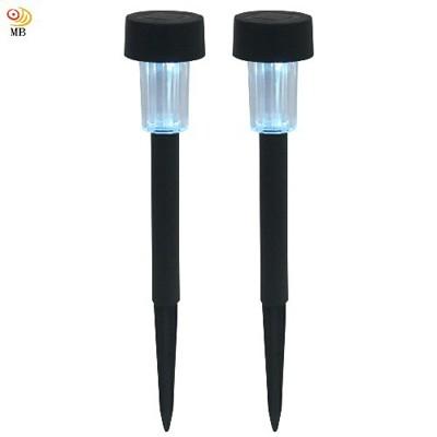 超值2入月陽黑色小鋼釘太陽能自動光控led庭園燈草坪燈插地燈(5016b2)