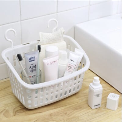 收納筐洗澡置物籃可掛式收納籃(長方形小號)