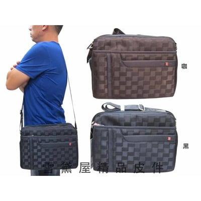 肩側包 二層拉鍊式主袋口隨身物品包可放平板電腦 防水尼龍布+皮革材質