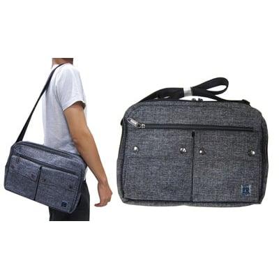 斜側包肩背包小容量8寸平板二層拉鍊主袋+外袋共六層隨身物品防水尼龍布肩背斜側背多袋口