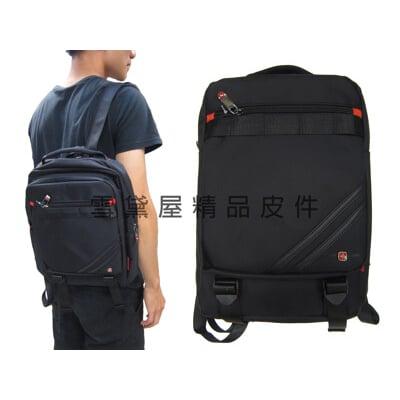 單肩後背包中容量可單左肩單右肩雙後背防水尼龍布+皮革材質主袋內固定水瓶功能