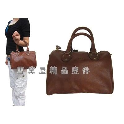 波士頓包中容量100%進口原皮革+棉質內裡手提肩背斜側背附長背帶