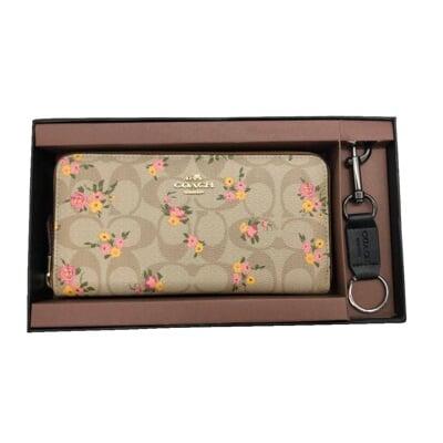 COACH 長夾+匙國際正版保證進口防水防刮皮革U型拉鍊包覆主袋品證購證塵套提袋