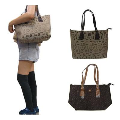 18NINO81 托特包大容量可A4資夾主袋內二隔層防水防刮皮革+防水緹花布附長背帶