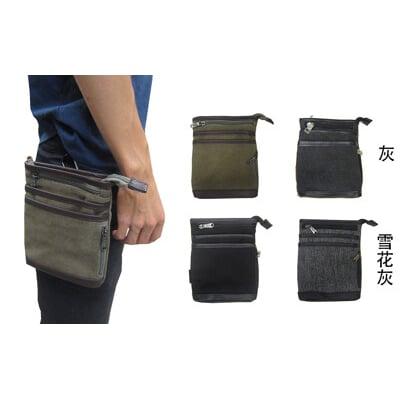 腰包外掛型腰包6寸手機插筆外袋主袋+外袋共五層工作隨身防水帆布+皮革穿皮帶固定