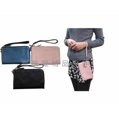 COACH 手拿包國際正版保證L雙層拉鍊主袋可手提手拿萬用分類包多功能100%進口牛皮革軟材質