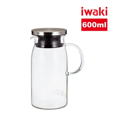【iwaki】日本耐熱玻璃不銹鋼蓋把手冷/熱水壺 600ml (圓瓶)