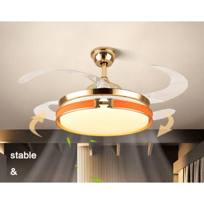 42寸變頻遙控 隱形風扇 吊扇燈 電風扇 輕奢餐廳燈家用帶燈電風扇客廳燈簡約臥室燈金色風扇吊燈