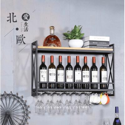 80X20X52cm 收納架 酒架 歐式鐵藝酒架 壁掛架墻上置物架創意餐廳裝飾擺件架實木酒櫃紅酒杯架