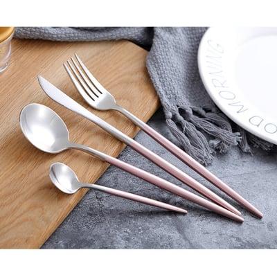 歐式精緻304不銹鋼銀色餐具(贈便攜香皂紙1盒)