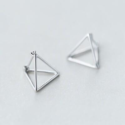 925純銀 立體空心三角形 耳環耳圈扣-銀 防抗過敏