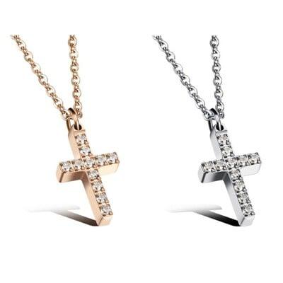316L醫療鋼 滿鑽十字架 天然白水晶 鎖骨項鍊-銀、玫瑰金 防抗過敏 不退色