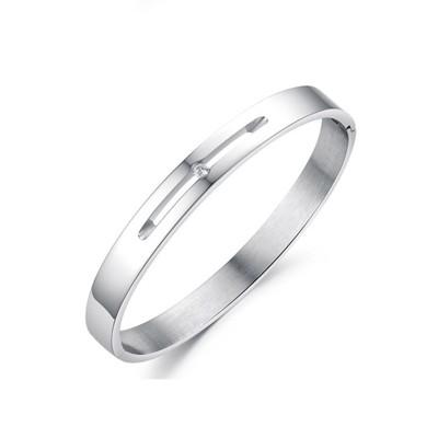 316L醫療鋼 4mm白水晶素面手環-銀 防抗過敏 不退色