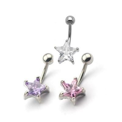 316L醫療鋼 五角星星星粗針肚臍環-白、粉、紫水晶 防抗過敏