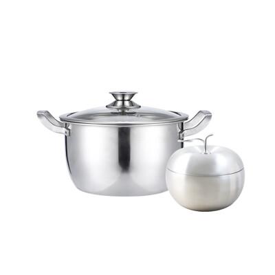 鵝頭牌御膳不鏽鋼雙耳湯鍋22cm+316蘋果型雙層碗