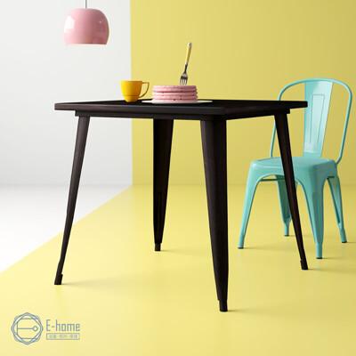 E-home Delia迪麗雅工業風金屬方形餐桌-幅80cm-三色可選
