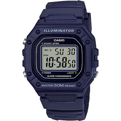【CASIO 卡西歐】復古帥氣方形數位電子錶-藍(W-218H-2A)