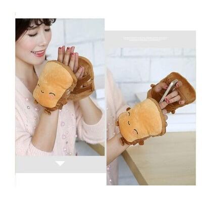 吐司暖暖手套 USB加熱保暖手套 情侶手套 麵包款 可愛 加熱 電熱 卡通 情侶手套抖音交換禮物