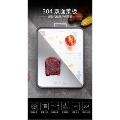 304【不銹鋼雙面砧菜板】29*42cm小麥兩用家用廚房分類菜板304不銹鋼健康切菜板水果