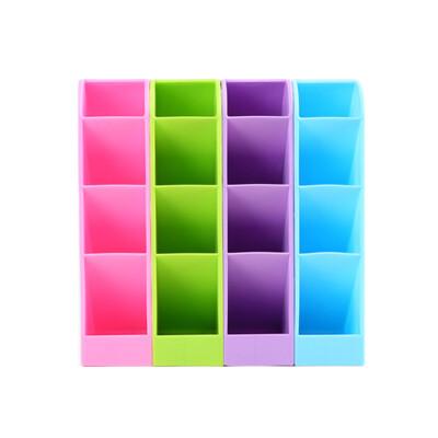 四格收納盒小號   可立可躺桌面置物盒 辦公文具筆筒 餐具收納 抽屜4格整理盒 化妝品保養品收納