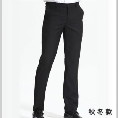 yuanho 韓版低腰窄版免燙西褲-平面素色黑