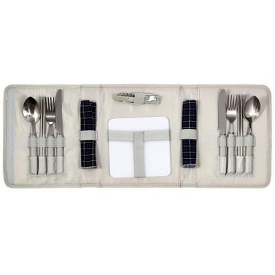 《省您錢購物網》全新~304不鏽鋼~戶外露營烤肉休閒餐具手提包