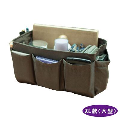 【超取免運】優質手工包中包|包包收納袋中袋包中包|織紋咖啡(大型)【歐必買ObuyNow】