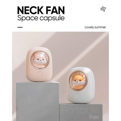 小倉鼠上吹式頸掛風扇/太空艙設計吸睛可愛度爆表 /口袋大小方便攜帶/半年保固