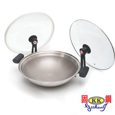 固鋼 304不鏽鋼節能炒菜鍋 氣密不沾鍋36cm 適用電磁爐